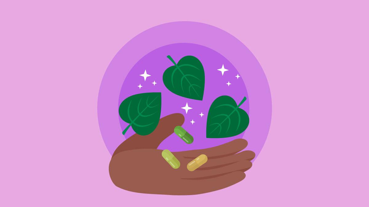 Illustration of kava leaf and capsules