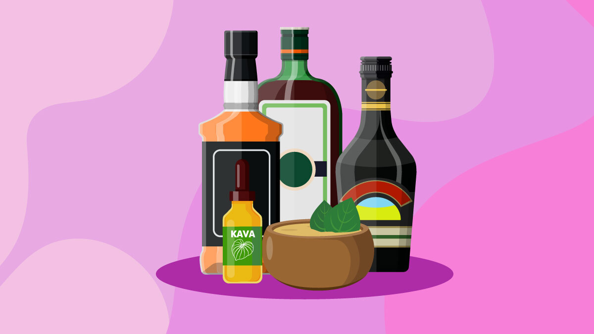 illustration of kava products and alcohol