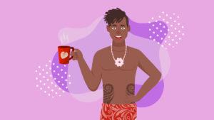 Illustration of a Polynesian guy hold kava tea cup