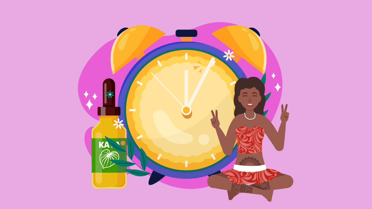 Illustration of a Polynesian girl sitting next to a clock