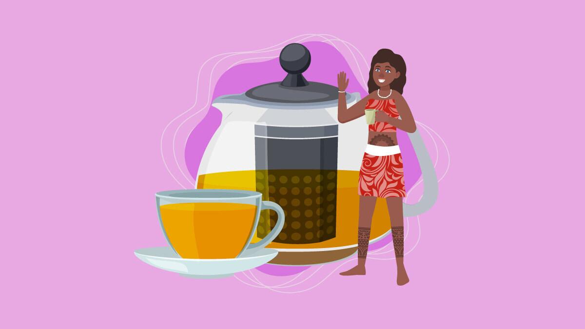 Illustration of a Polynesian girl and kava tea pot