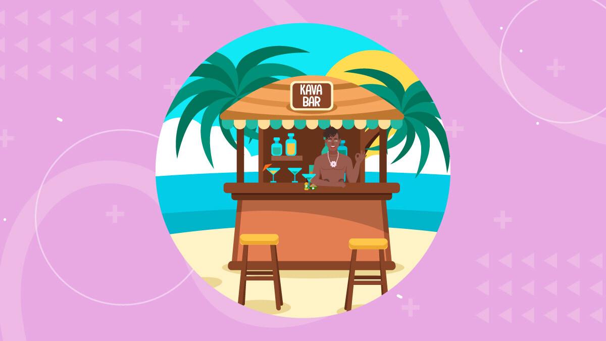 Illustration of kava bar on the beach