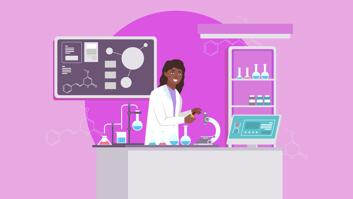 Illustration of a scientist, researching about kava