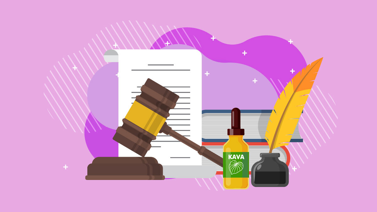 Illustration of law book, judge mallet, and kava tincture