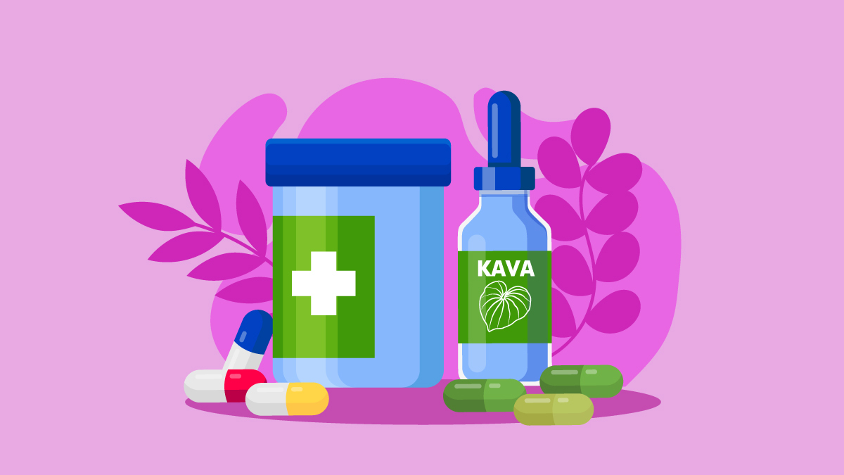 illustration of Kava tincture and capsules