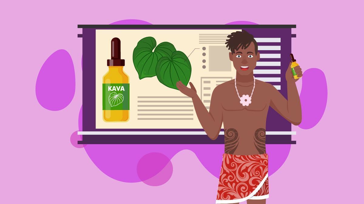an illustration of Polynesian man giving lessons about Kava