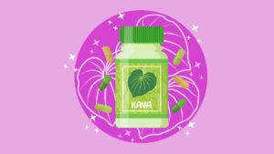 Illustration of kava capsule bottle