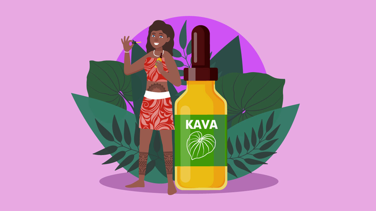 Illustration of a Polynesian girl and kava tincture bottle