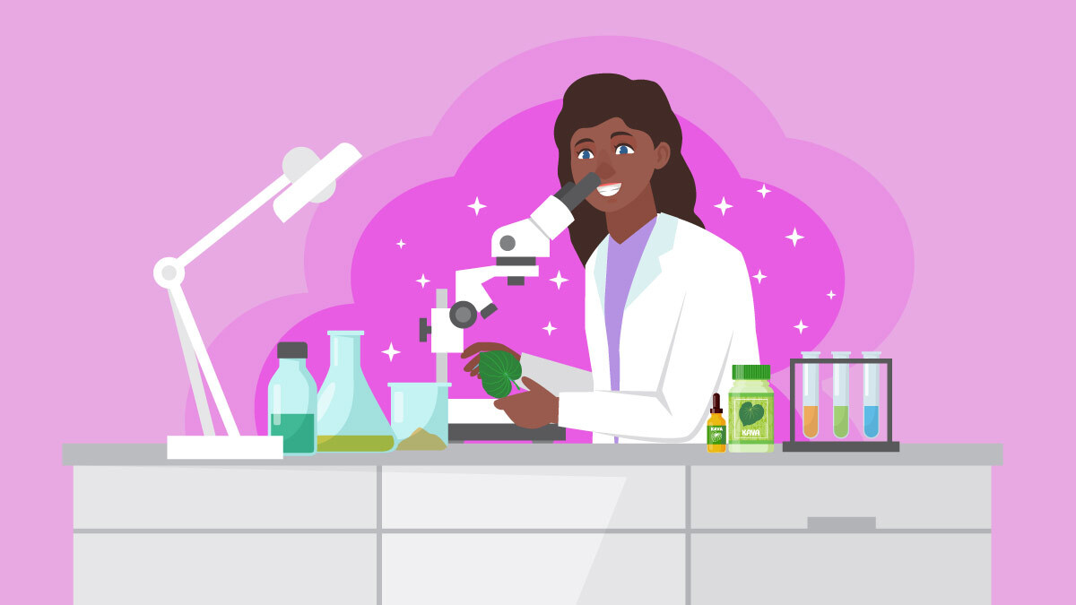 Illustration of a scientist doing research on kava