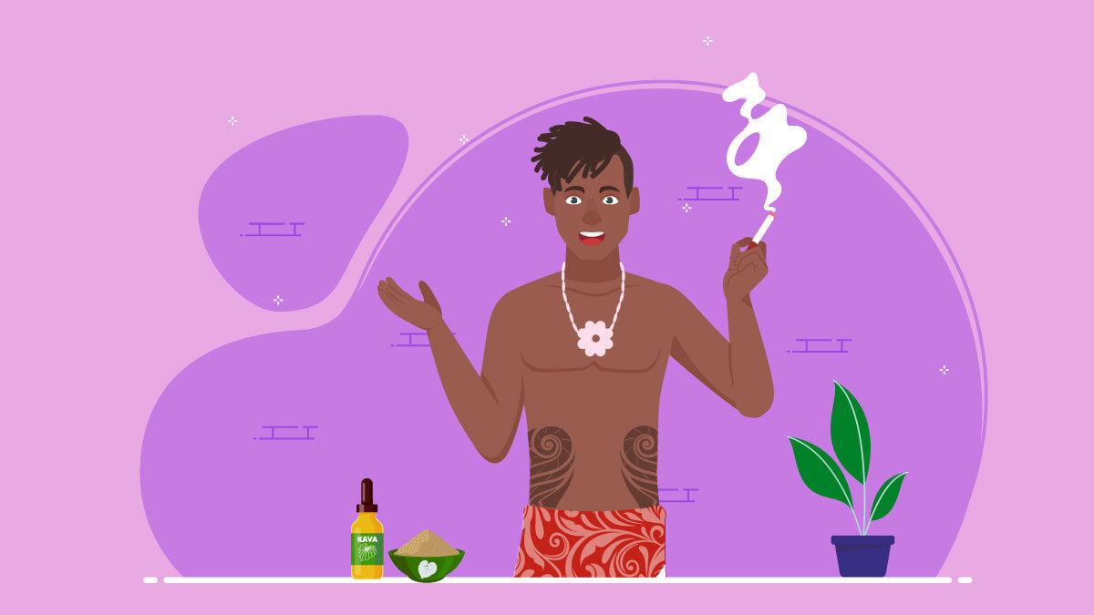 Illustration of a Polynesian guy smoking kava