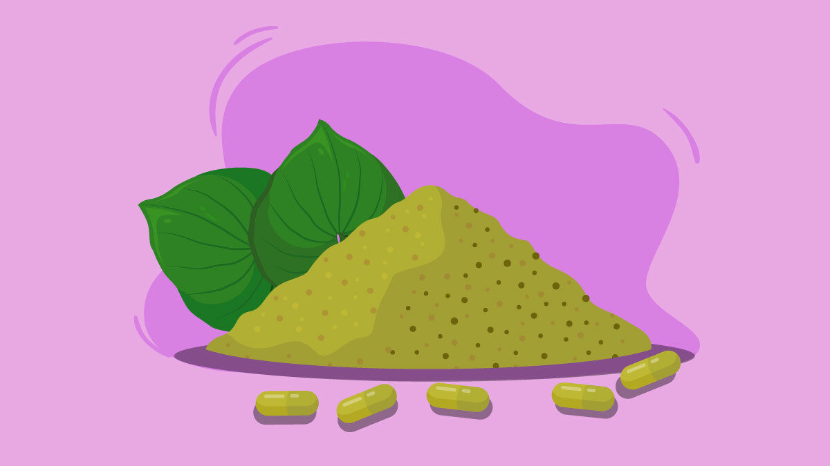Illustration of kava powder and capsules