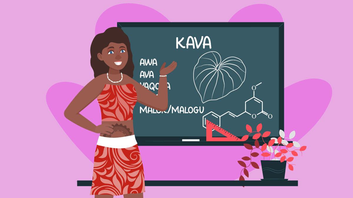Illustration of a Polynesian girl explaining kava terminology