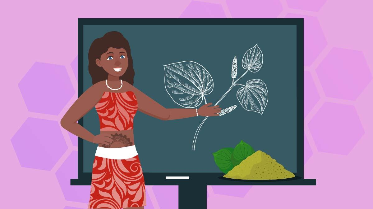 Illustration of a Polynesian girl with a blackboard with kava powder
