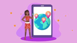 Illustration of a Polynesian girl standing next to a smartphone with world map