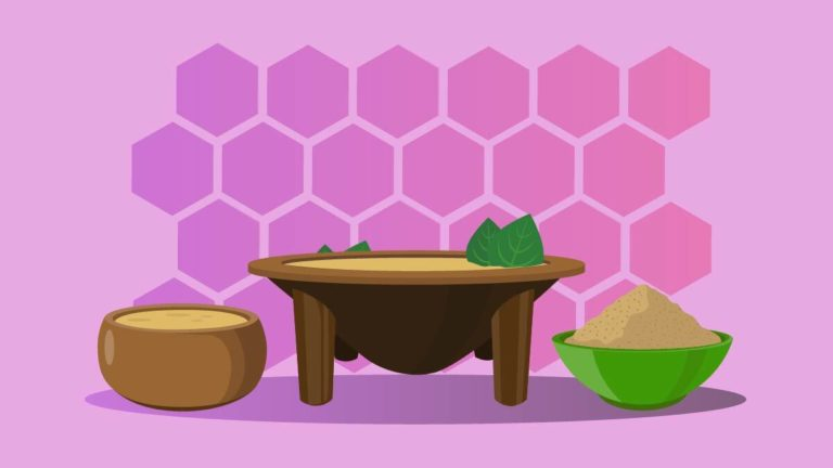 Illustration of traditional kava bowl and powder